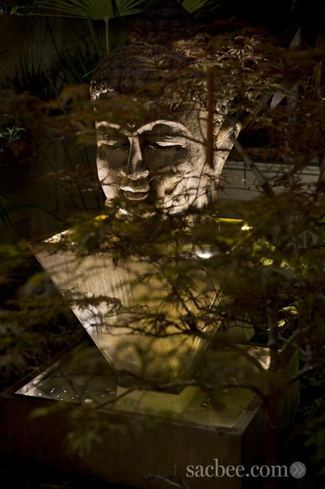 Shimmering Water Lighting on Buddha Sculpture Sestak Lighting Design