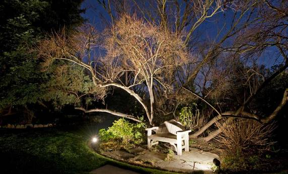 Beautifully Lit Landscape Seating Feature