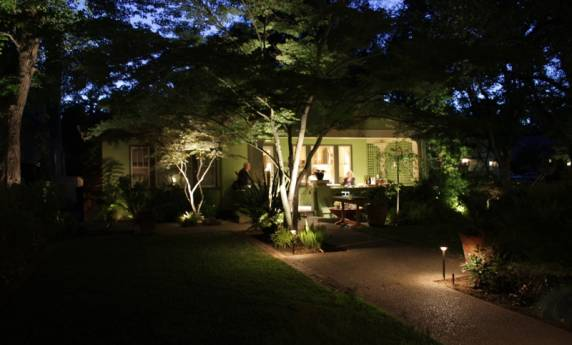 Residential Front Entry Path Lighting with Tree Features